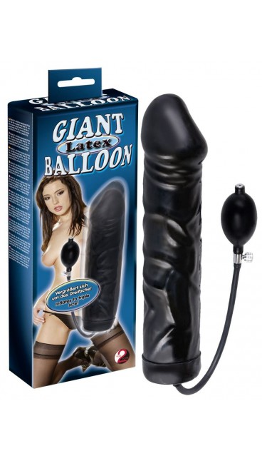 Black Giant Latex Balloon Oppustelig Dildo