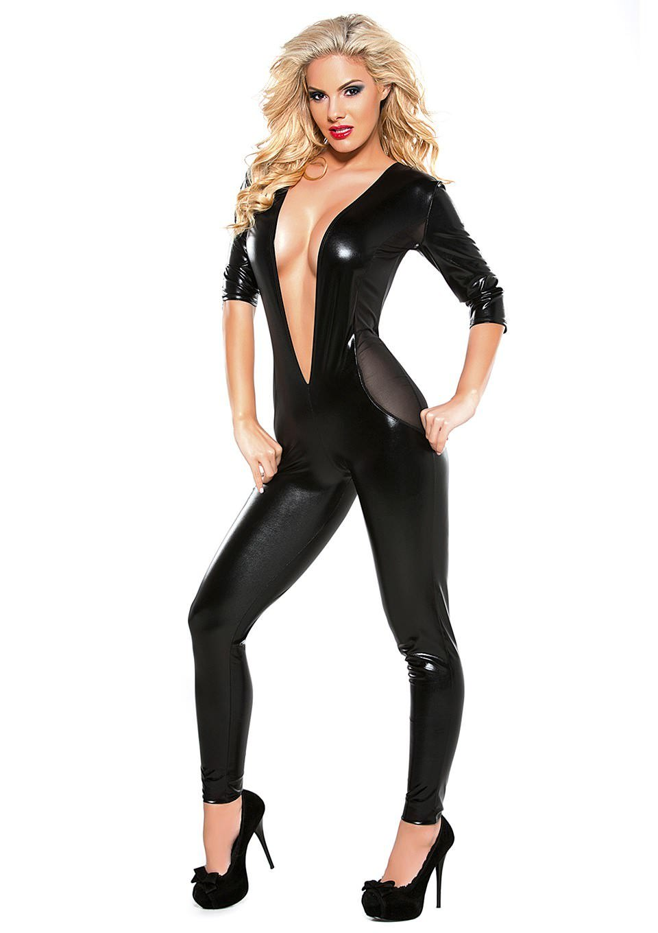 Image of Allure Wetlook Catsuit Med Halvlange Ærmer