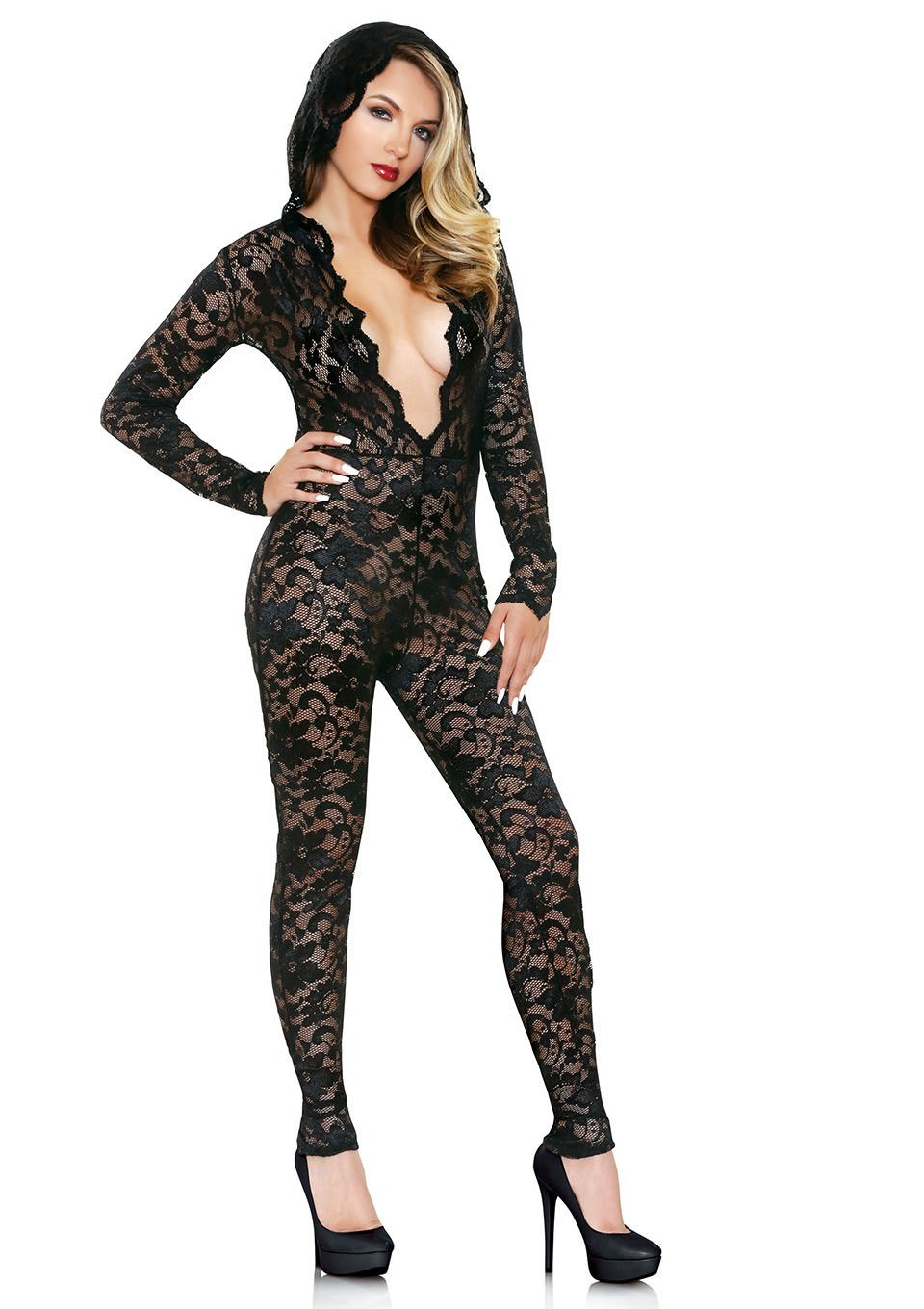 Image of   Fantasy Lingerie Mia Lace Hooded Catsuit