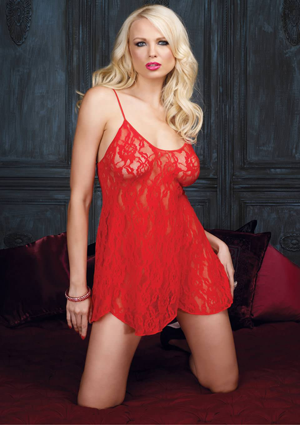 Leg Avenue Rose Lace Flair Rød Chemise Med G-Streng