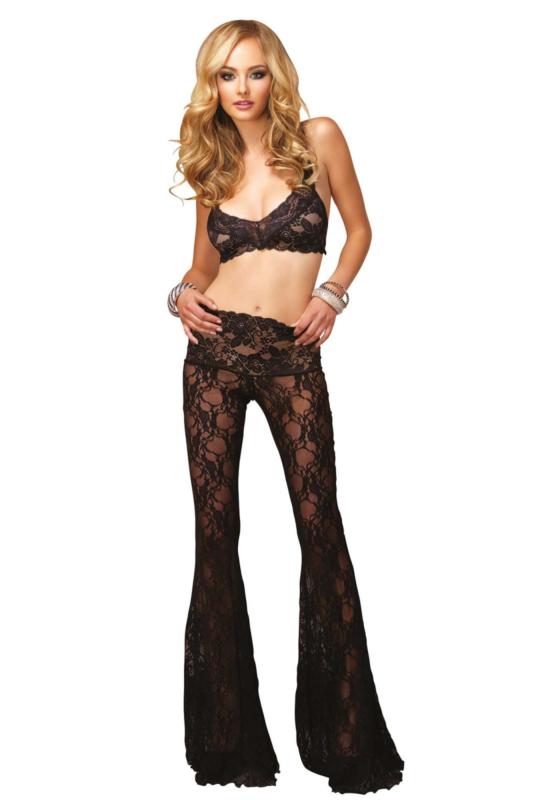 Billede af Leg Avenue 2 PC Sexy Retro Floral Lace Bra Top With Criss Cross Back and Matching Pants