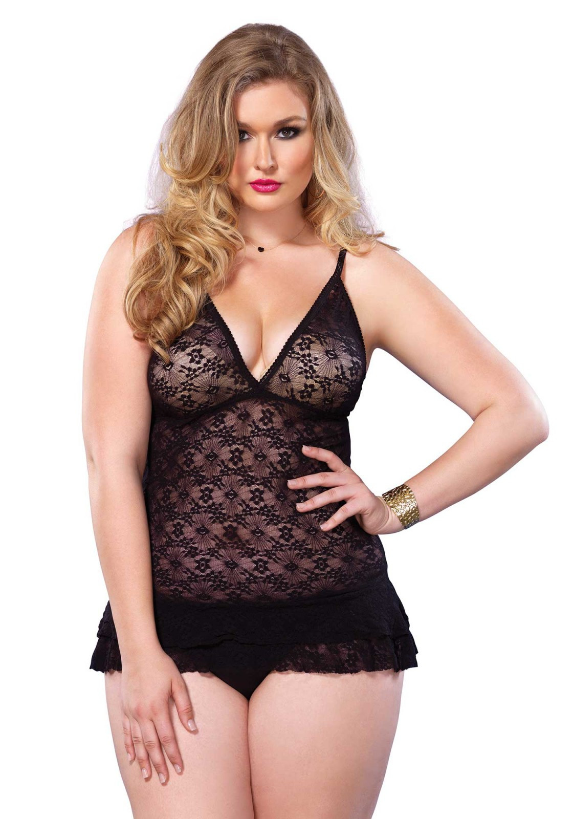 Leg Avenue Lace Chemise with Layered Ruffle Skirt