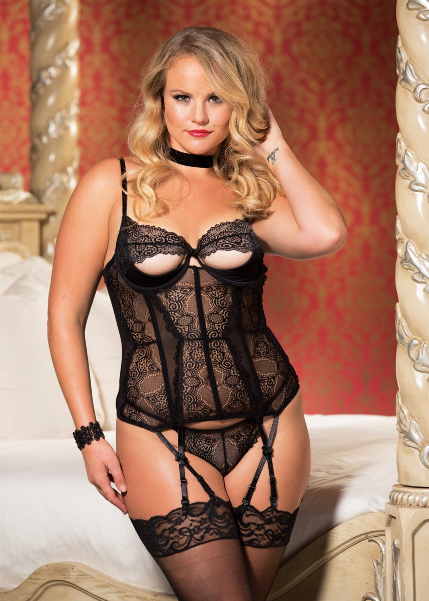 Stretch Lace Og Mesh Peek-A-BOO Bustier